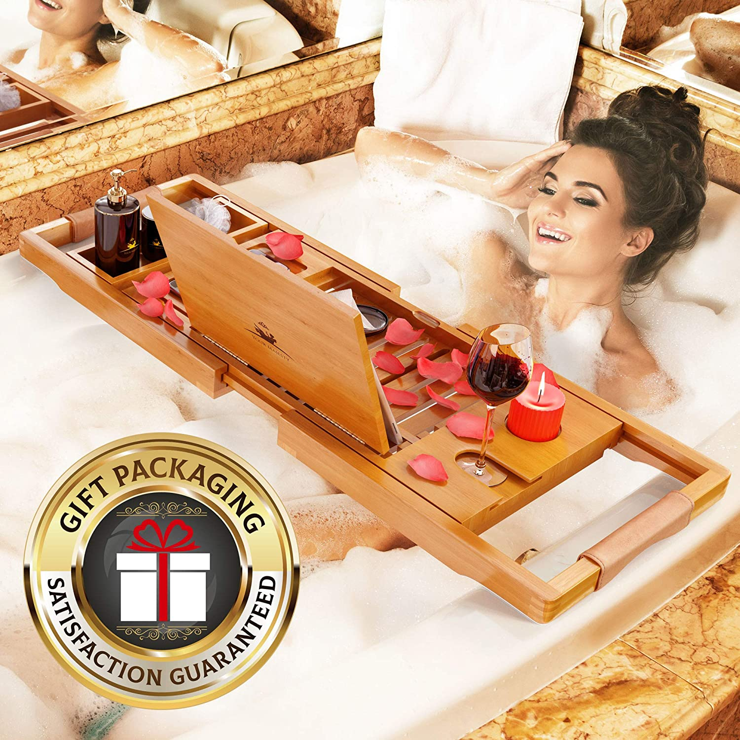 YM Lux Craft Bamboo Bathtub Caddy Tray [Durable, Non-Slip], 1-2 Adults Expandable Bathtub Tray, Beautiful Gift Box, Fits Any Tub Bath - Holds Book, Wine, Phone, Ipad, Laptop: Kitchen & Dining