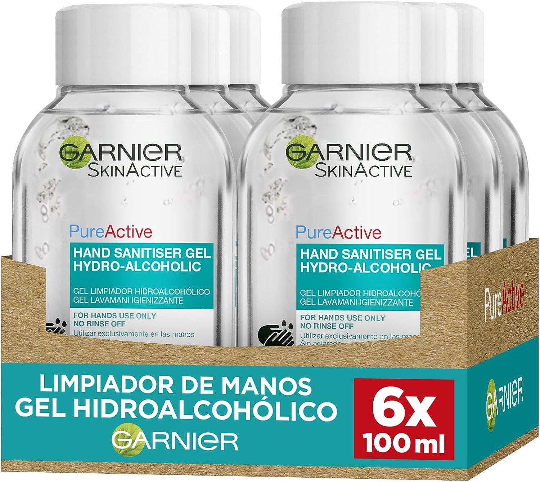 Garnier Skin Active gel limpiador hidroalcohólico 100 ml - Pack de 6