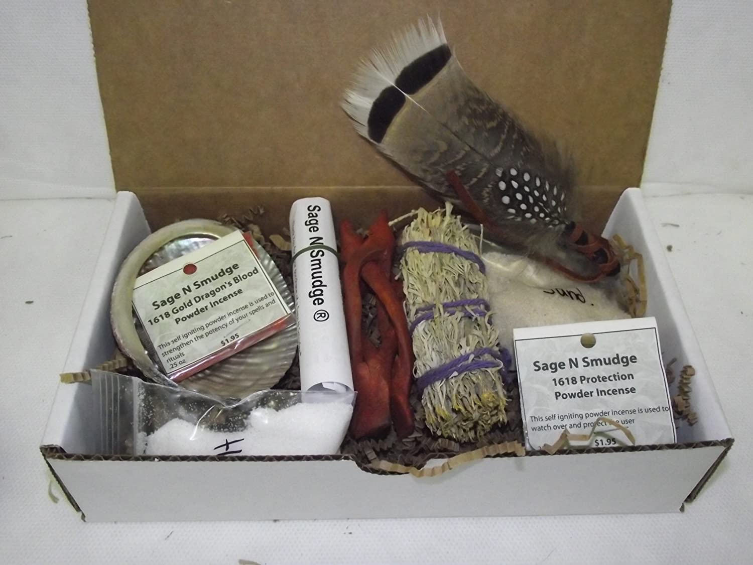 Sage Smudge Kit Travel Kit Gift Set with Gift Card Abalone Shell Stand Sage Wild Turkey Feather Salt Protection Incense Dragonsblood Incese Censor Sand and Directions Sage N Smudge ®