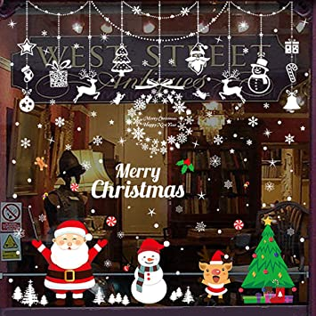Santa Claus Wall Decal Vinyl Full Color Sticker Christmas Home Decoration LJ
