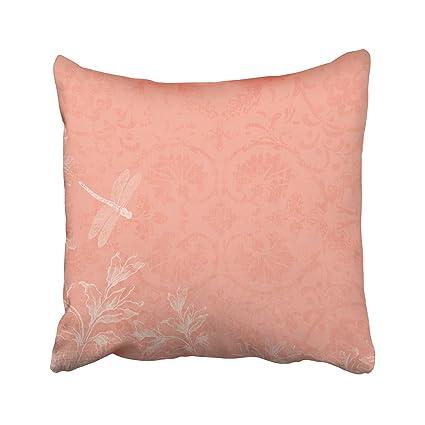 Amazon Capsceoll Dragonfly Peach Floral Dragonfly Decorative Fascinating Peach Decorative Throw Pillows