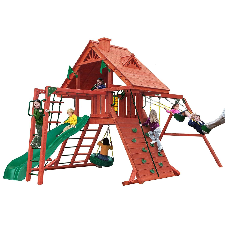 Amazon Com Sun Palace Cedar Ii Swing And Play Set With Two Swings