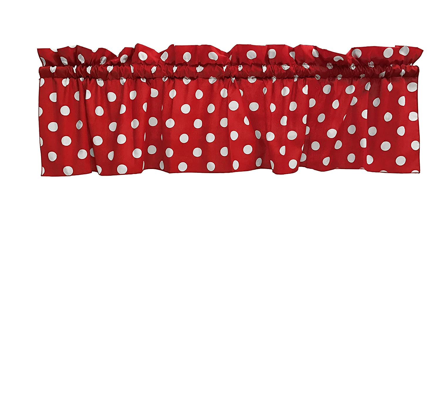 2 Pack Decorative Cotton Curtain Valance / White Polka Dot on Red / 14 Inch Tall / 58 Inch Wide / Two Piece Set by Zen Creative Designs