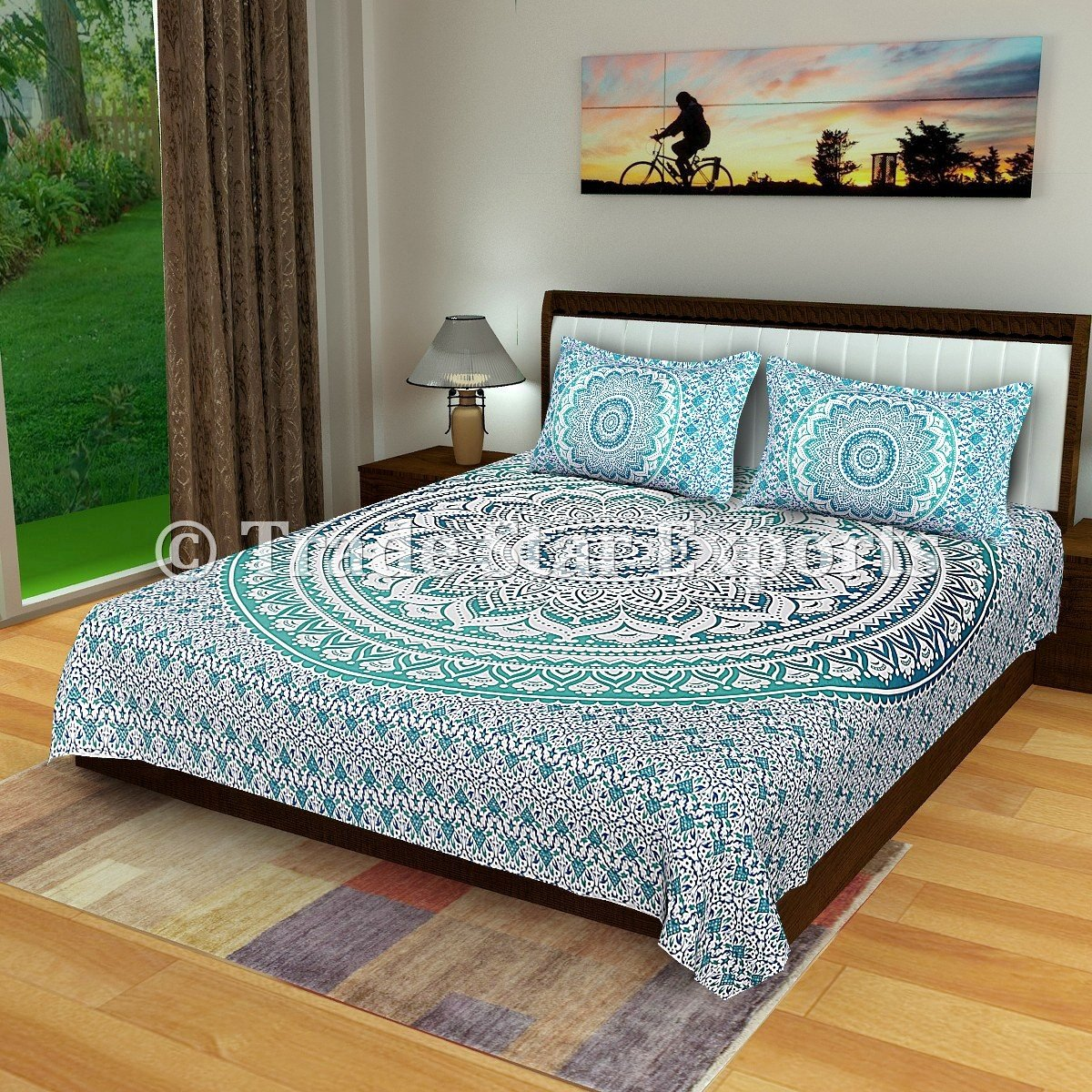 (Pattern 1) - Ombre Mandala Bedding set, Cotton Bed sheet Queen, Boho Blanket throw, Indian Bed cover with two Pillow Cases (Pattern 1) B0755GRQTR パターン2