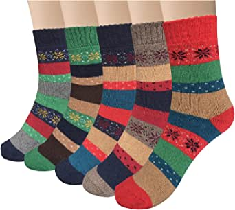 YSense 5 Pairs Womens Knit Warm Casual Wool Crew Winter Socks