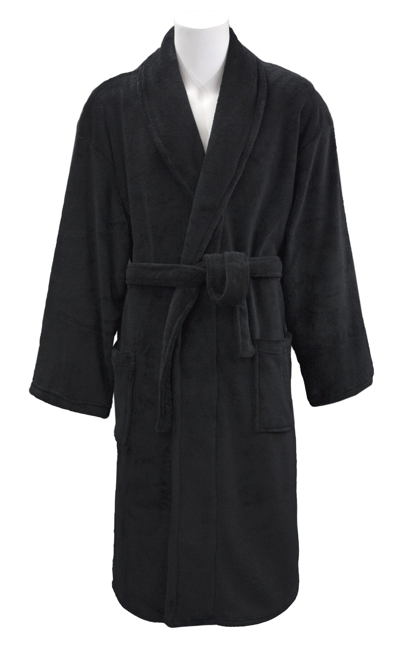 Leisureland Men's Coral Fleece Spa Bathrobe Robes 48'' Black by Leisureland