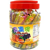 Jin Jin Fruit Jelly Filled Strip Straws Candy - Many Flavors! (35.26 oz)