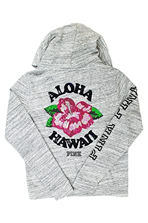 62aa889806de4 Victoria's Secret PINK Bling Sequin Full Zip Hoodie Aloha Hawaii Small Gray  Marl