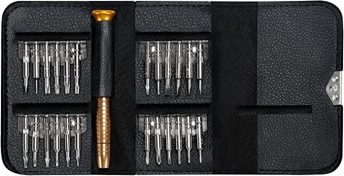 25 in 1 Mini Screwdriver Set with Leather Case Laptop Watch Eyeglass Perfect Portable Repair Tool Screwdriver Bits for Mobile Phone Precision Screwdriver Repair Kit with Torx and Pentalobe Bits