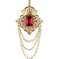 Panjatan Flamboyant Black Crystal Crowned with Golden Chain Pin Brooch.