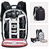 Beschoi Sac à dos photo, sac pour appareil photo pour SLR avec objectif monté, autres objectifs, flash système et accessoires, trépied