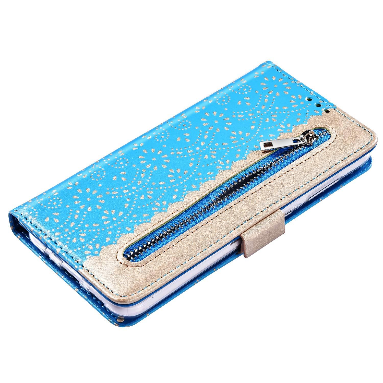 JAWSEU Kompatibel mit Samsung Galaxy A50 H/ülle,Flower Case Schutzh/ülle Brieftasche Pr/ägen Blumen Muster PU Leder Tasche Flip Case Handyh/ülle Lederh/ülle Handytasche f/ür Galaxy A50,Schwarz