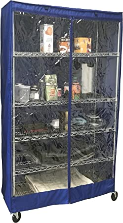 """Royal Blue//Clear Storage Shelving unit cover fits 48/""""Wx18/""""Dx72/""""H Cover Only"""