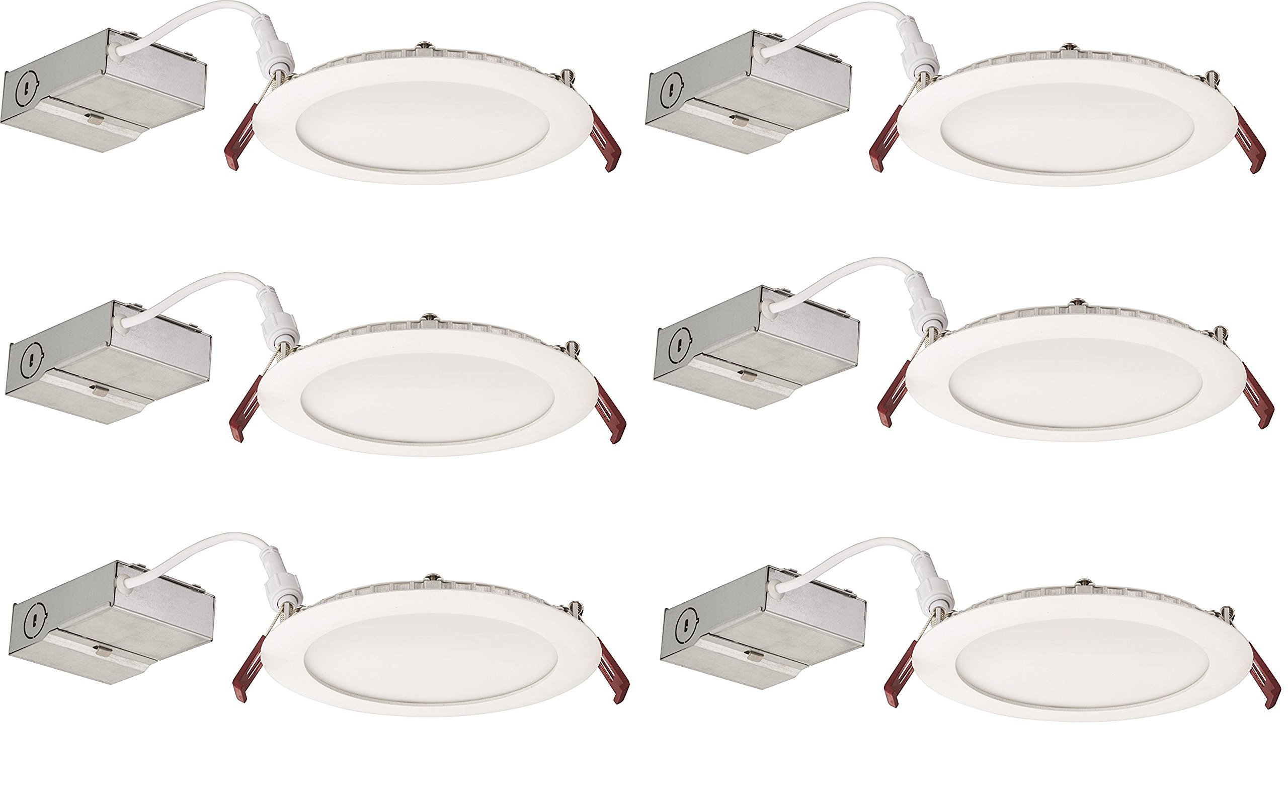 Lithonia Lighting (Pack of 6) 13W Ultra Thin 6'' Dimmable Recessed Ceiling Light, 3000K, White - Easy to install - Save time and money - Energy Efficient LED Lighting