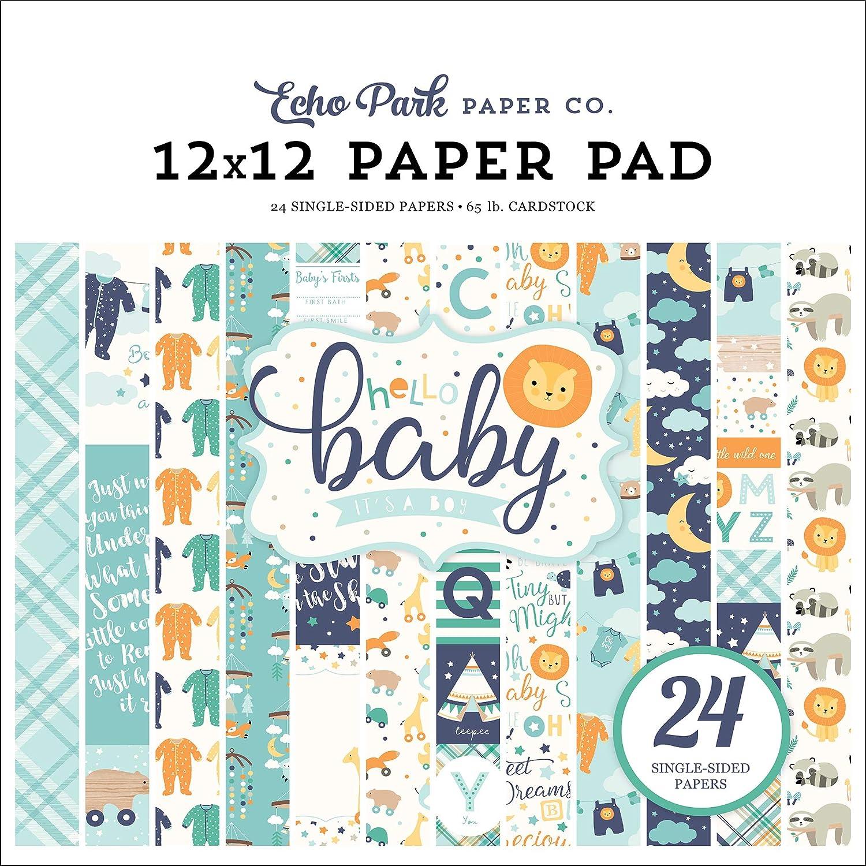 Yellow Navy Teal Orange Orange Echo Park Paper Company Hello Baby Boy Collection Kit Paper
