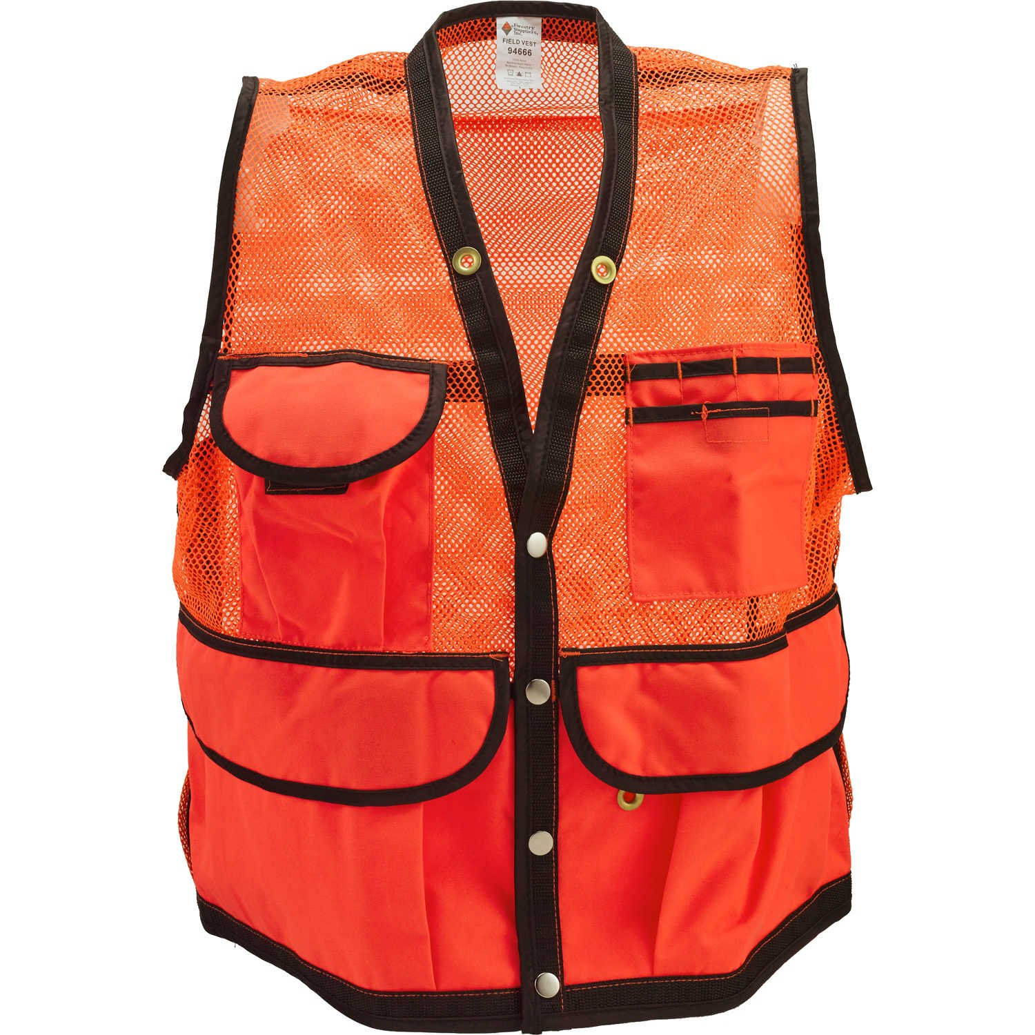 JIM-GEM 8-Pocket Nylon Mesh Cruiser Vest Orange X-Large