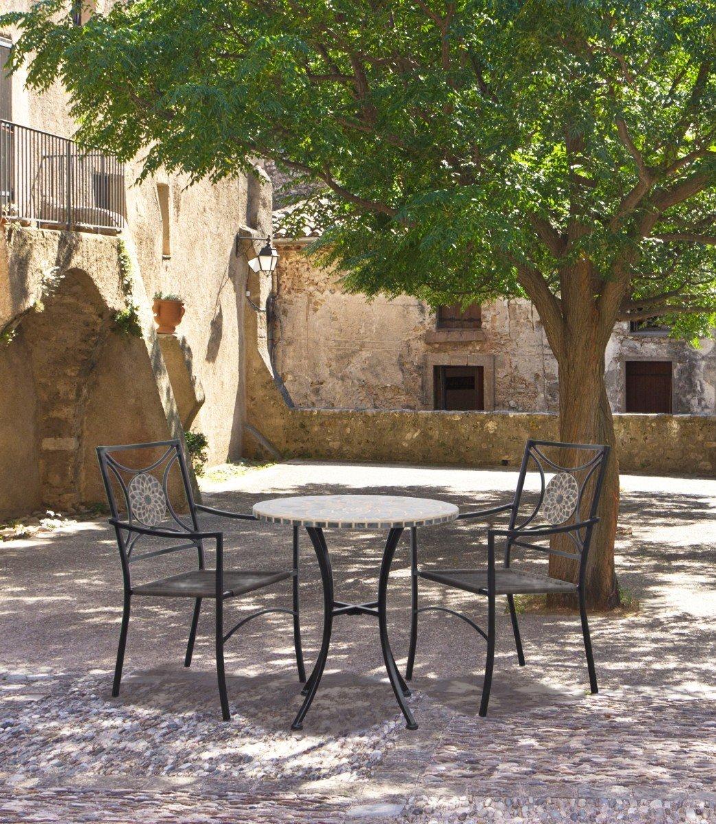 Dreams4home Garten Set Rosa Tisch Stuhl Gartenmobel Keramik