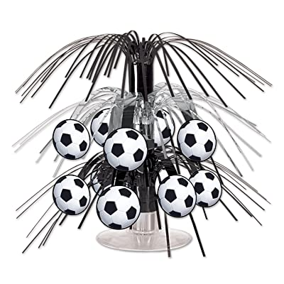 Beistle Soccer Ball Cascade Centerpiece, 71/2-Inch, Black/Silver/White (Value 3-Pack): Home & Kitchen