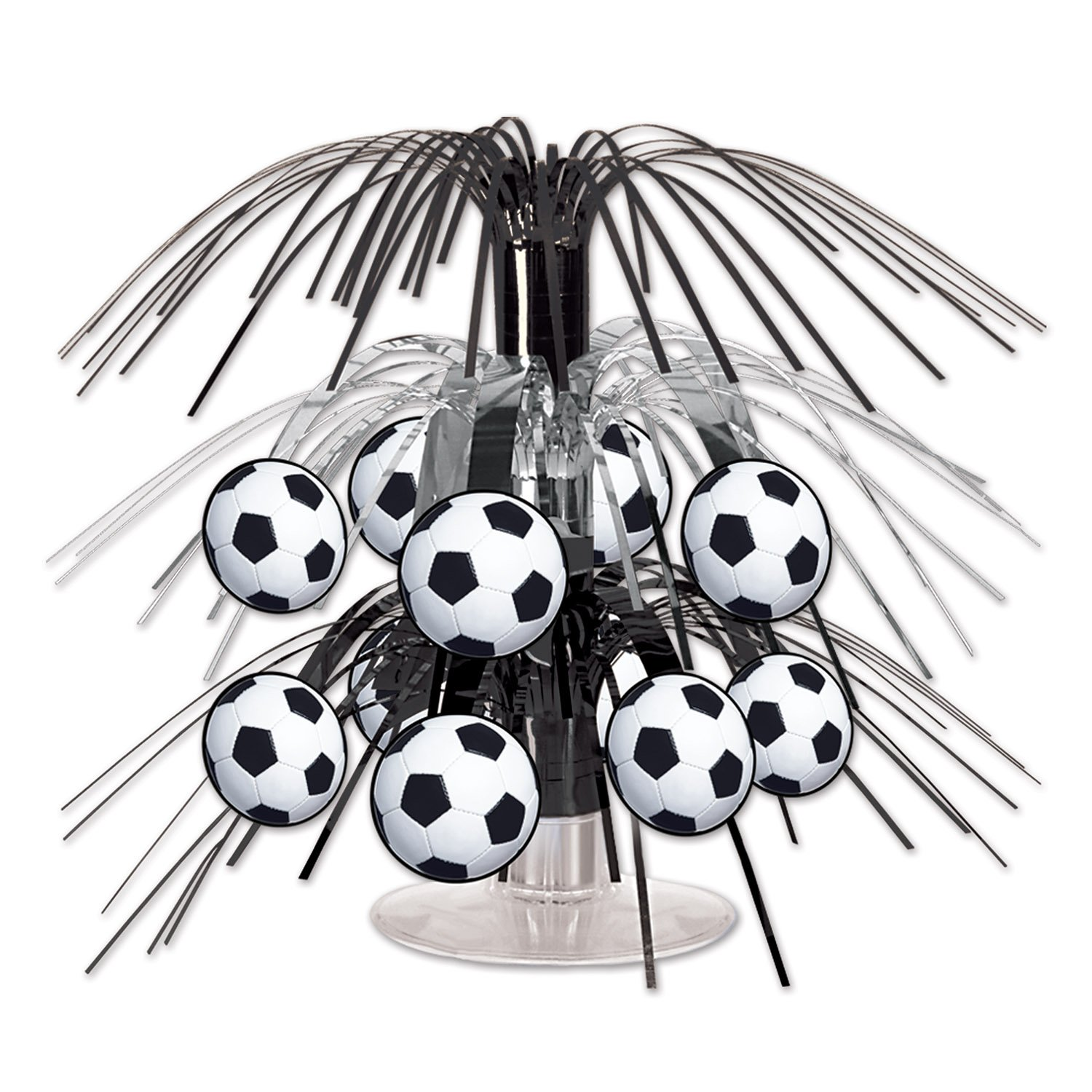 Beistle Soccer Ball Cascade Centerpiece, 71/2-Inch, Black/Silver/White 54098