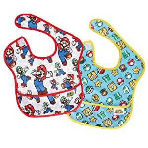 Bumkins Nintendo Super Mario SuperBib, Baby Bib, Waterproof, Washable, Stain and Odor Resistant, 6-24 Months (Pack of 2) - Classic & Icons
