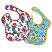 Bumkins Nintendo Super Mario SuperBib, Baby Bib, Waterproof, Washable, Stain and Odor Resistant, 6-24 Months, 2-Pack - Classic & Icons