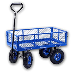 Landworks 2103Q044A Heavy Duty Lawn/Garden Utility Cart/Wagon With Removable Side Meshes, 400 lbs, Blue