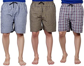 SSB Pure Cotton Multicolor Casual Solid Boxers for Men's Pack of 3 Men's Boxer Shorts at amazon