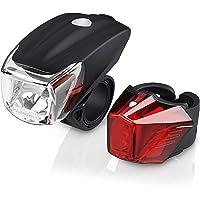 LED Akku Fahrradbeleuchtung Set StVZO | Fahrradlampen-Set | Vorderlicht und Rücklicht | zugelassen nach StVZO | Schnellbefestigung | Befestigungs-Clip | Fahrradlicht Fahrradlampe Fahrradleuchte