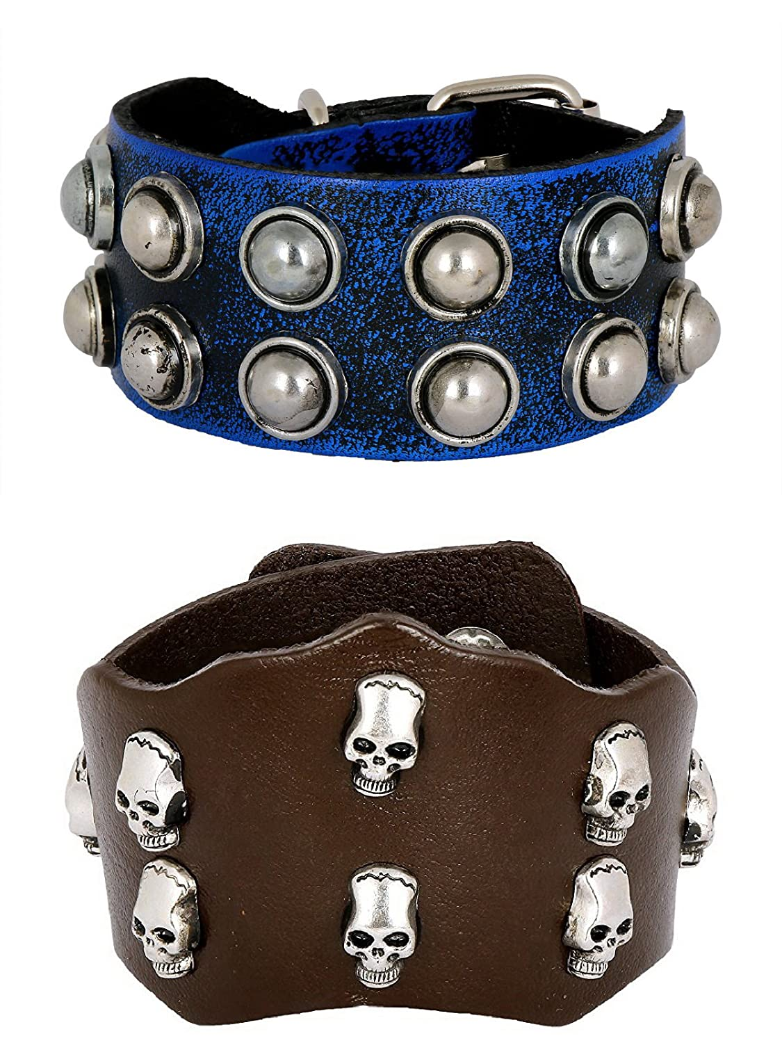 ZIVOM Casual Burnt Blue Black Handcrafted /& Funky Punk Skull Dark Brown Leather Combo Pack of 2 Bracelet Boys Men