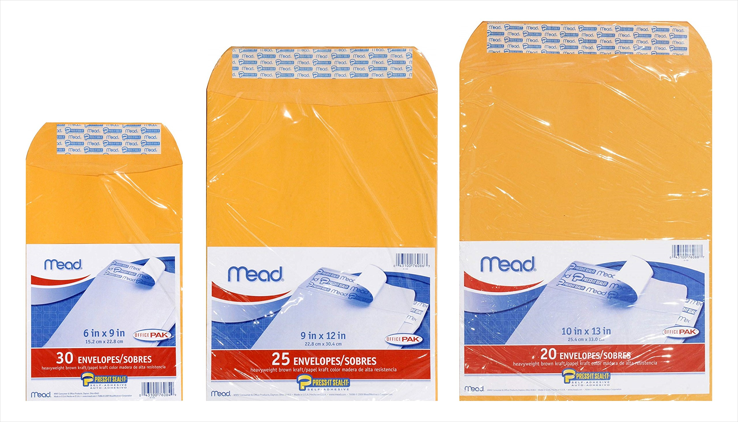 ACCO Mead OFFICEPAK, Press-it Seal-It, Self Adhesive Heavy-Weight Brown Kraft Envelopes Bundle - 6x9-inch (30 ct), 9x12-inch (25 ct), and 10x13-inch (20 ct) (Packaging May Vary)