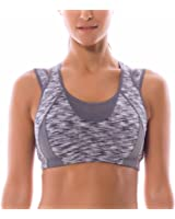 SYROKAN Women's High Impact Support Wirefree Workout Racerback Sports Bra Top