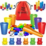 Rainbow Counting Bears With Matching Sorting Cups 150 Pcs Set JUMBO PACK + FREE Linking Cubes + FREE Counting Chips + FREE St