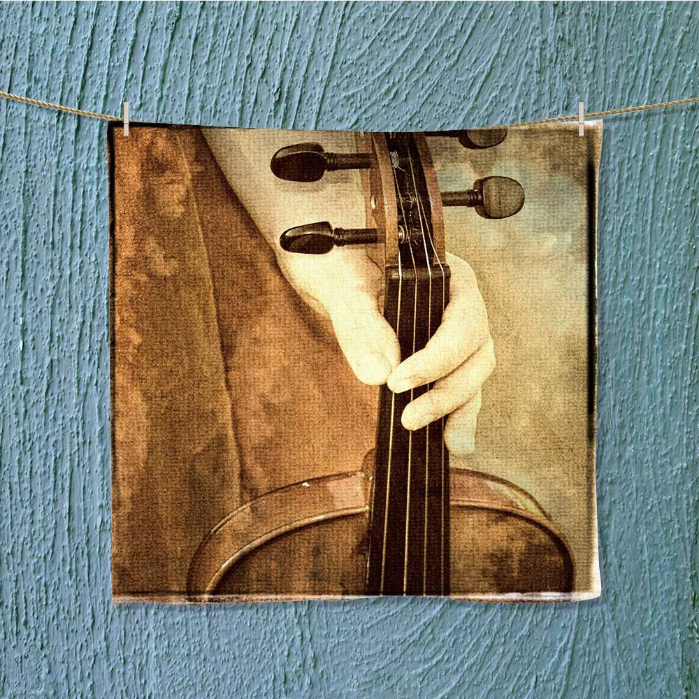 AuraiseHome shower towela vintage look photograph female h a violin Ideal for everyday use W19.7 x W19.7 by AuraiseHome