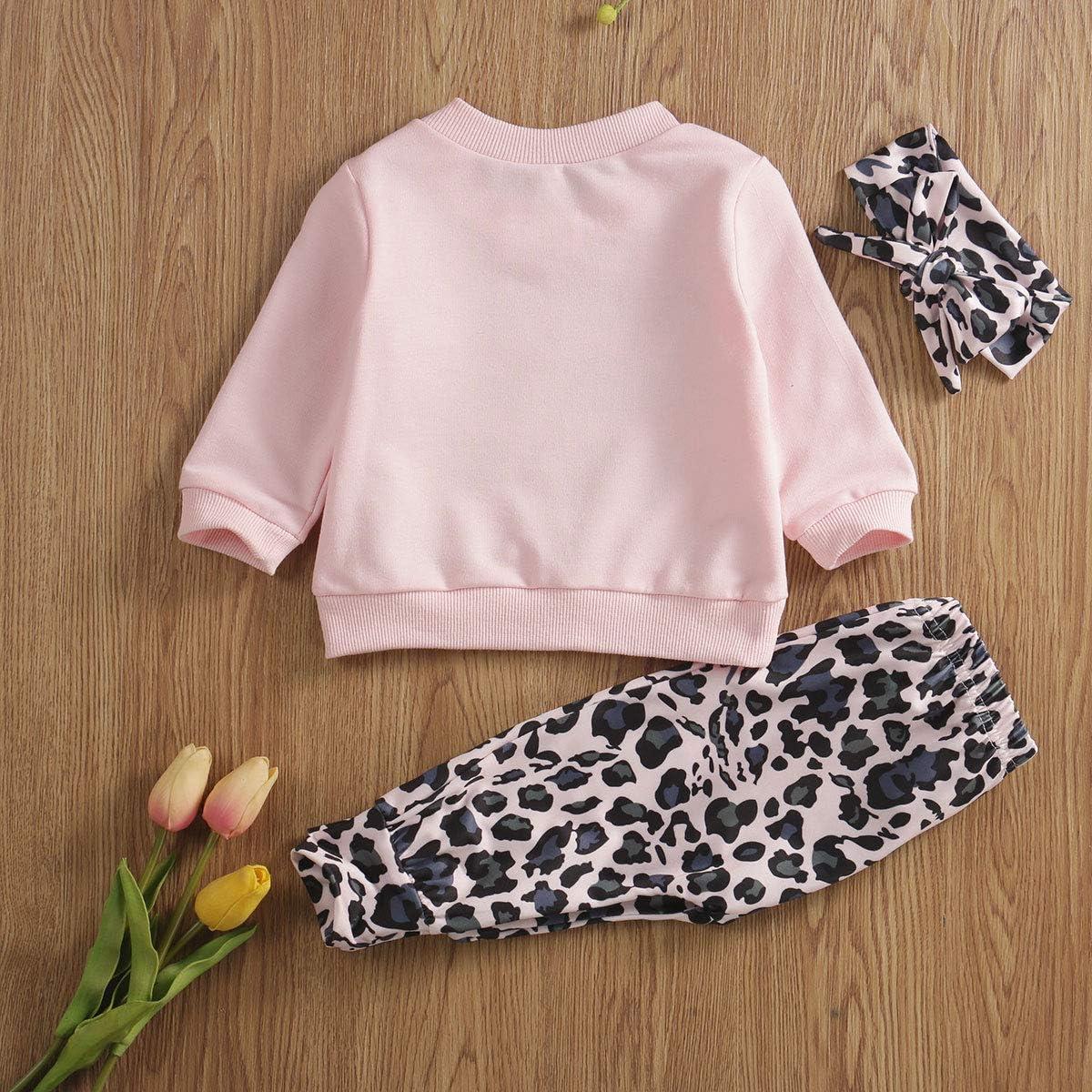 LAJIFENLEI Infant Toddler Baby Girl Long Sleeve Letter Tshirt Top+Leopard Pants+Headband Sweatshirt Outfit ClothesSet