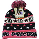 Official Licensed One Direction 1D Pink Black White Beanie Bobble Hat One Size