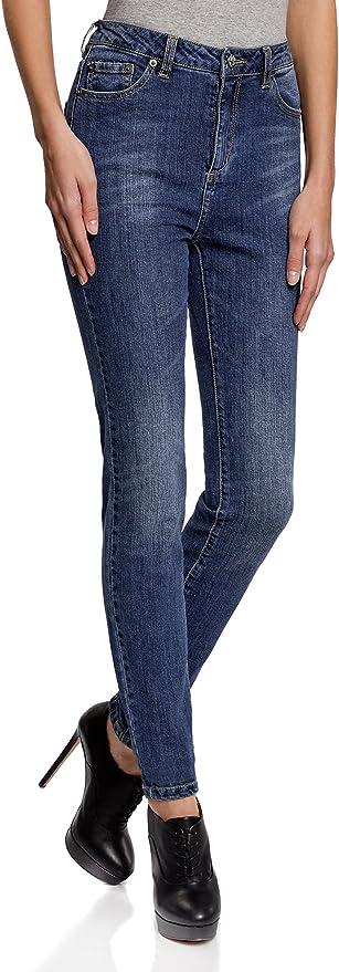 oodji Ultra Mujer Vaqueros Skinny de Tiro Alto