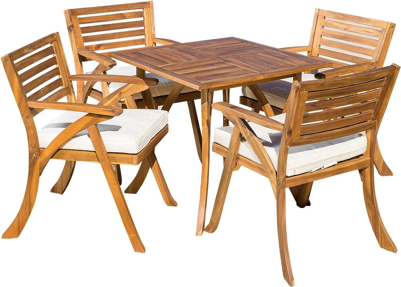 Amazon.com: Christopher Knight Home Hermosa Acacia Wood Dining Set, 5-Pcs  Set, Teak Finish: Garden & Outdoor