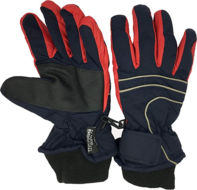Kids Waterproof 3M Thinsulate Ski Gloves with Anti-slip Palm Age 4-12+