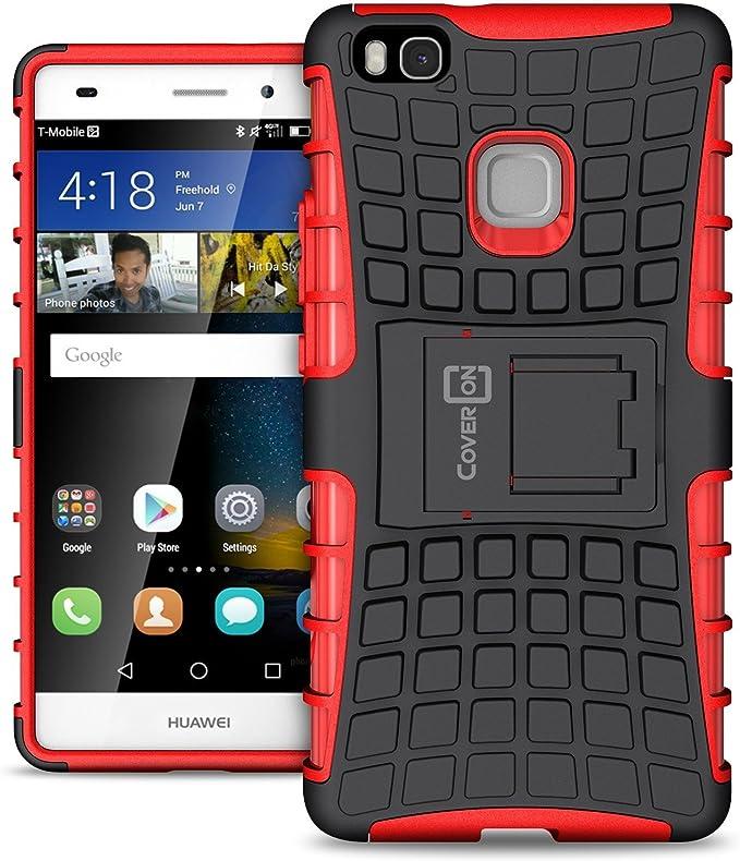 Coque Huawei P9 Lite, Coveron [Atomic Series] Hybride Housse de Protection Robuste Rigide Béquille Coque de Protection pour Huawei P9 Lite Noir/Rouge