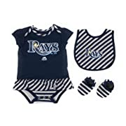 Outerstuff Tampa Bay Rays Girls Baby Clothing, 3 Piece Creeper Bib Booties Apparel Set