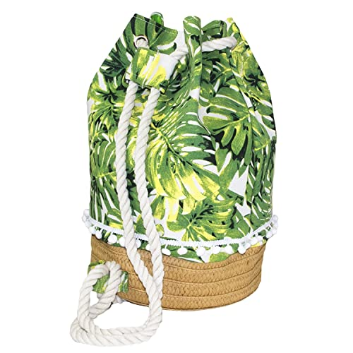 e96cc1914f7f Amazon.com  Auliné Collection Tropical Print Straw Woven Bucket Shoulder Canvas  Bag Backpack - TP Backpack  Shoes