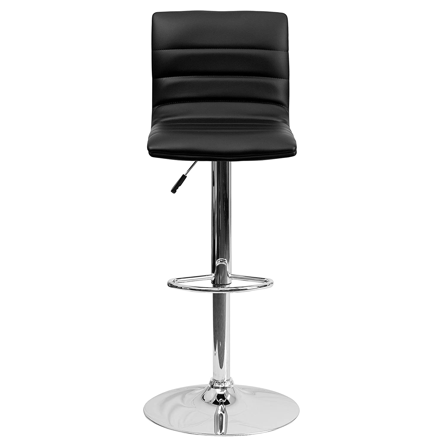 amazoncom flash furniture contemporary black vinyl adjustable  - amazoncom flash furniture contemporary black vinyl adjustable heightbarstool with chrome base kitchen  dining