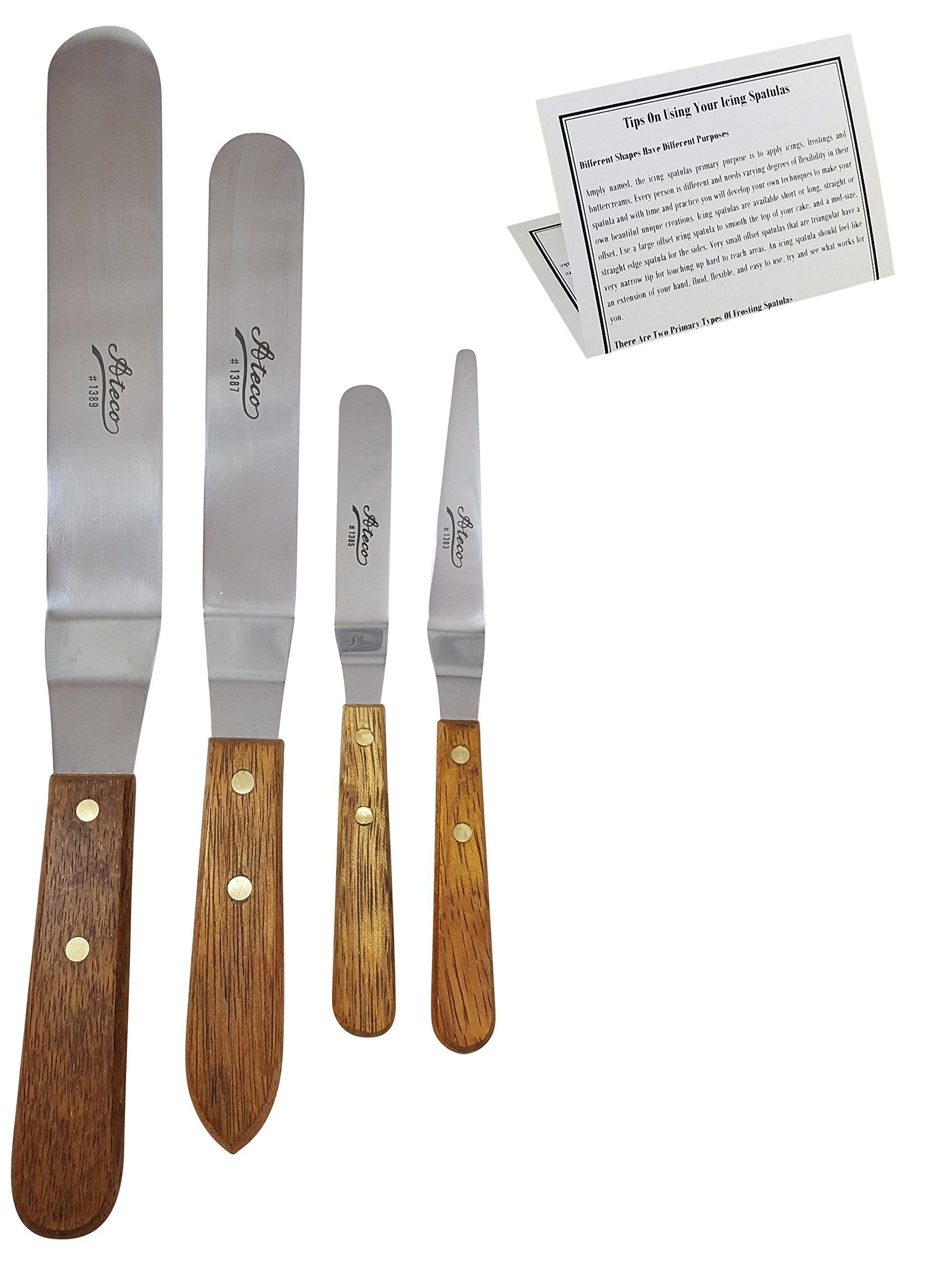 CurrentLiving Ateco Offset Icing Spatula Set, 4 Piece Cake Frosting Stainless Steel Decorating Tools with Wood Handles.