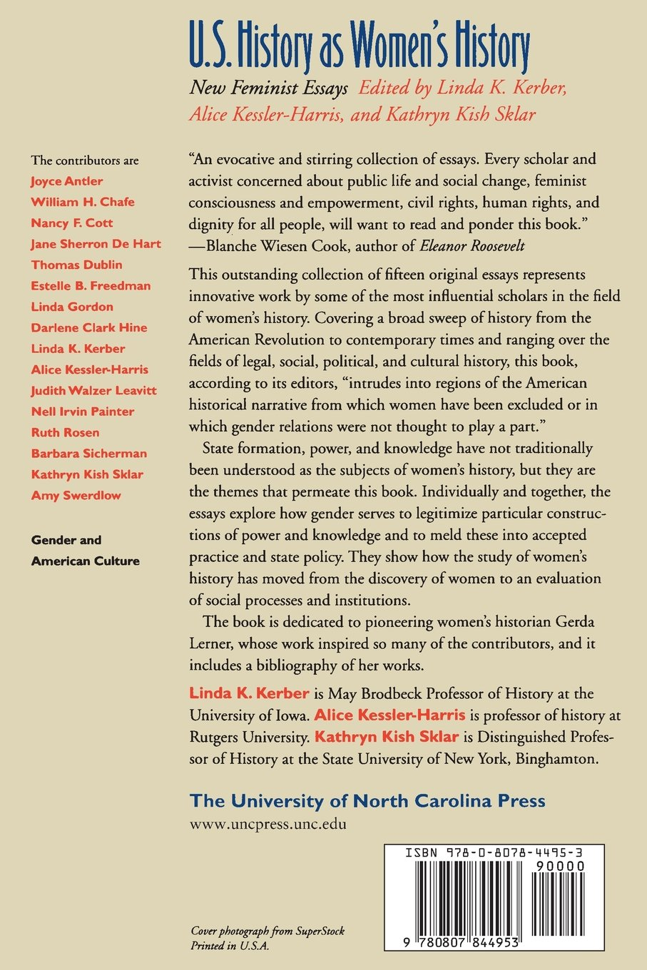 u s history as women s history new feminist essays gender and u s history as women s history new feminist essays gender and american culture linda k kerber alice kessler harris kathryn kish sklar