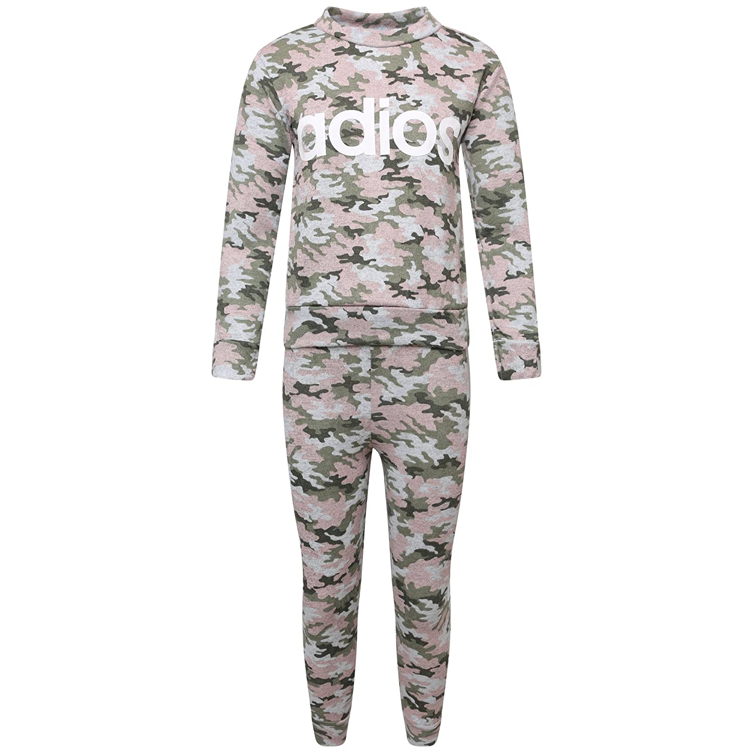 Girls Kids Adios Camouflage Print Army Crop Top & Bottoms New York 98 Leggings Tracksuit Suit Age 2-13 Years