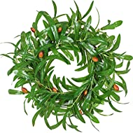 """Lvydec Artificial Olive Leaves Wreath, 16"""" Fake Olive Branch Spring Wreath with Red Olives for Front Door Home Decor"""