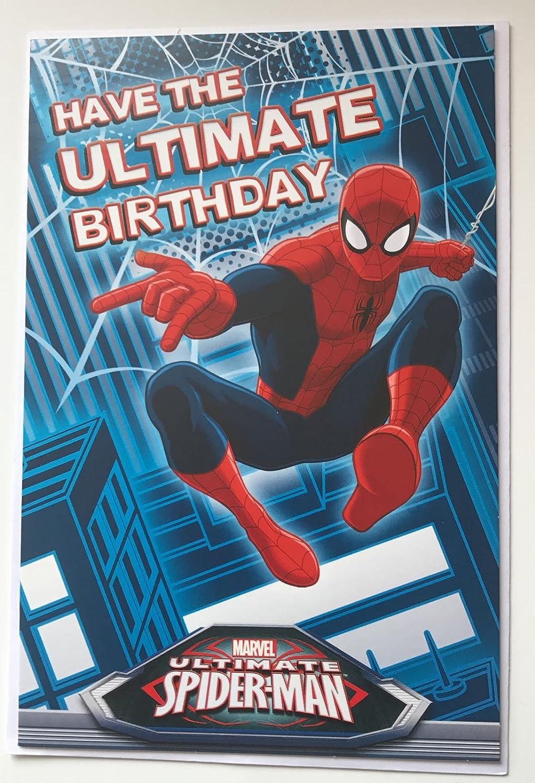 MARVEL - \'You \'re 4\' Spider-Man Geburtstagskarte mit Anstecker ...