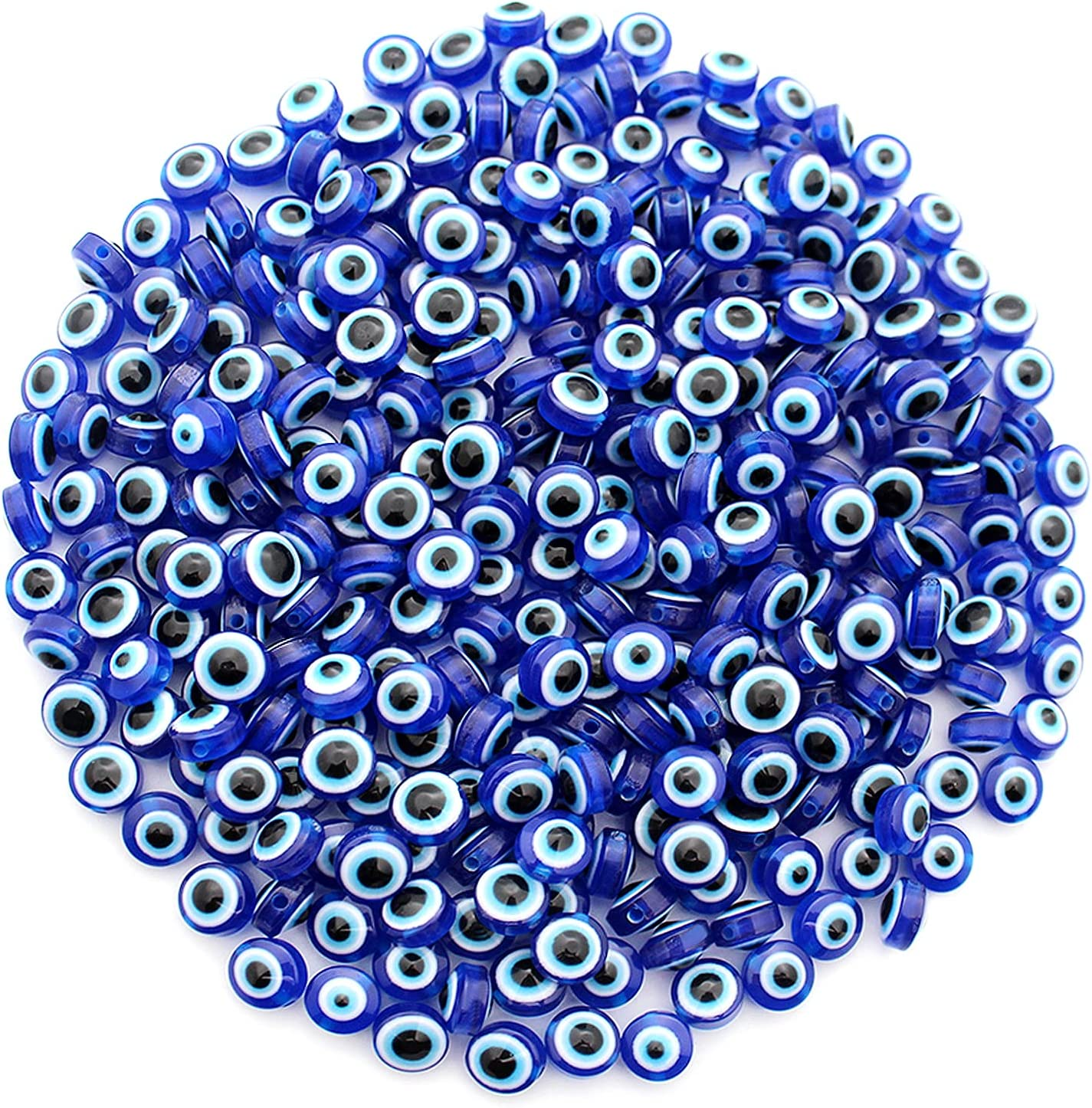 Anvin 300Pcs Blue Evil Eye Beads for Bracelets Necklace Jewelry Making, Evil Eye Protection Charms Bulk DIY Craft Handmade Evil Eye Decoration for Home Wall Ornament Resin Round (300Pcs 8mm)