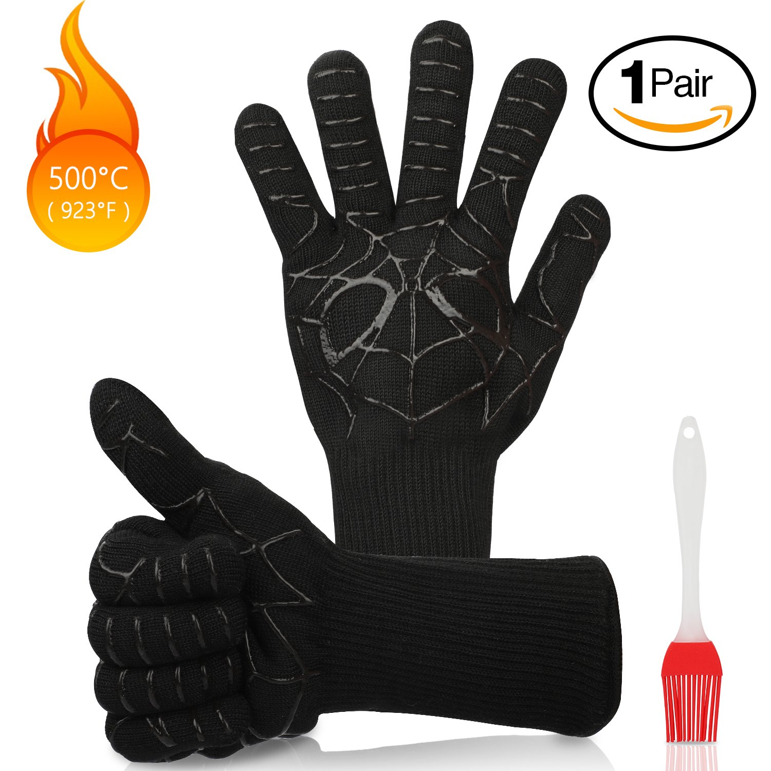 Koooper BBQ Gloves Mitt Grilling Oven Gloves 932 °F Extreme Heat Resistant Gloves for BBQ,Fires,Microwave Oven Cooking Baking and Other Hot Work in Kitchen Thoughtful Gift for Your Mon & Wife