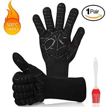 MojiDecor BBQ Grilling Gloves Heat Resistant Up to 500 /° C BBQ Heat Resistant Gloves Oven Grill /& Barbecue Gloves BBQ Grilling Cooking Baking Oven Gloves For Grilling 1pair Cooking Baking